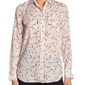 Equipment Front Button Print Silk Blouse